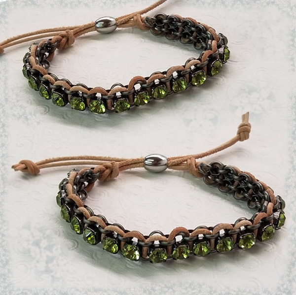 Rhinestone leather bracelet