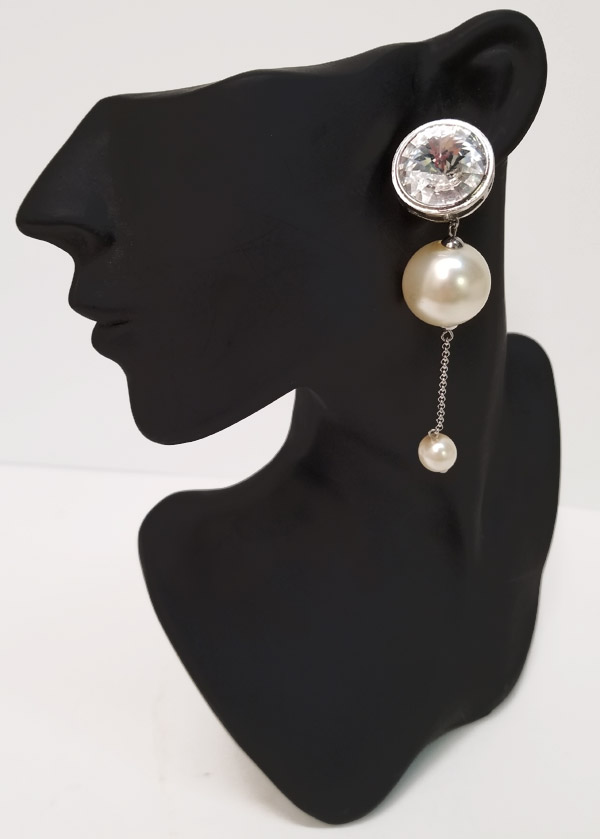 Rivoli and Pearl earrings