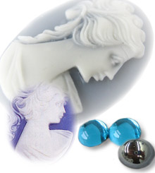 Cameo and Glass Cabochon