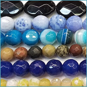 Faceted semi-precious beads
