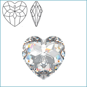 SWAROVSKI 6215 FACETED HEART PENDANT