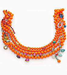 Crystal Neon Orange Pearls combined with Crystal Astral Pink, Crystal Luminous Green and other colors and effects.