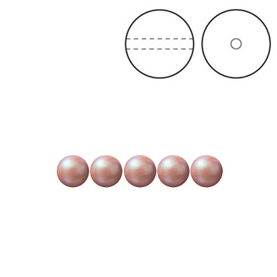 Preciosa Nacre pearls, drilled, round, 4mm, pearlescent pink