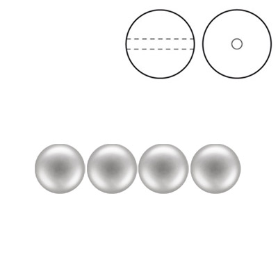 Preciosa Nacre pearls, drilled, round, 6mm, light grey