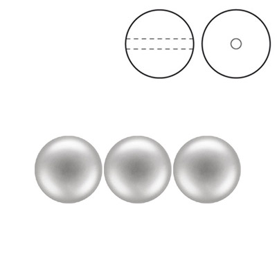 Preciosa Nacre pearls, drilled, round, 8mm, light grey