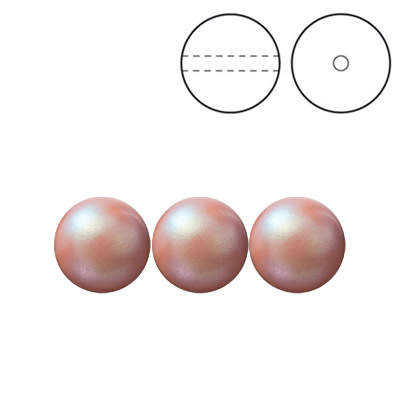 Preciosa Nacre pearls, drilled, round, 8mm, pearlescent pink
