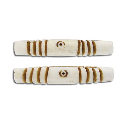 Bone bead, 35x6mm, brown and white