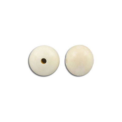 Bone bead, 15mm, round, white