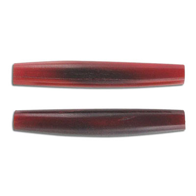 Horn beads, 2 inch, pipe, red