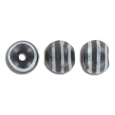 Bone bead, 10mm, black with white pattern