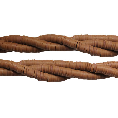 Polymer clay heishi beads, 6mm, cocoa, aprox. 200 pieces per strand, 14.5 inch strands