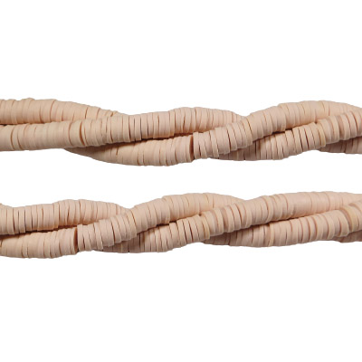 Polymer clay heishi beads, 6mm, peach, aprox. 200 pieces per strand, 14.5 inch strands
