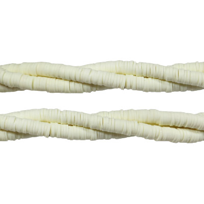 Polymer clay heishi beads, 6mm, off white, aprox. 200 pieces per strand, 14.5 inch strands