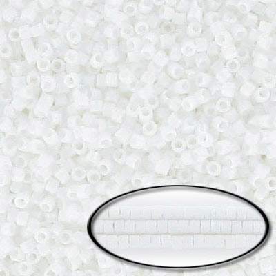 Miyuki Delica seed beads, size 11/0, matte white, approx.hole size 0.80mm, pack of 50gr