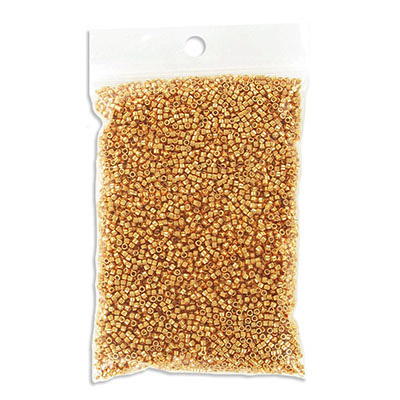 Miyuki Delica seed beads, size 11/0, galvanized yellow gold, approx.hole size 0.80mm, pack of 50gr