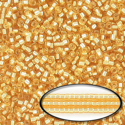 Miyuki Delica seed beads, size 11/0, silver lined gold, approx.hole size 0.80mm, pack of 250gr