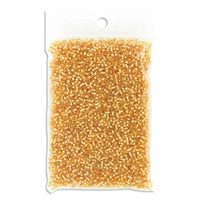Miyuki Delica seed beads, size 11/0, silver lined gold, approx.hole size 0.80mm, pack of 50gr