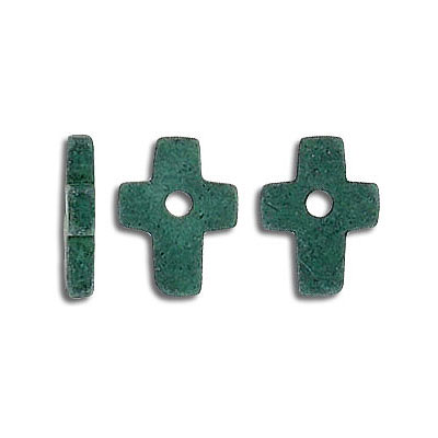 Fimo cross bead green