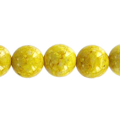 Fossil bead, 36 inch strand, yellow, 10mm