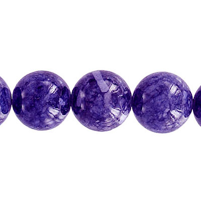Fossil bead, 36 inch strand, purple, 12mm