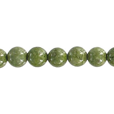 Fossil beads, 6mm, olive green, 36 inch strand