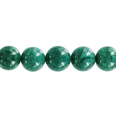 Fossil bead, 32 inch strand, dark green, 8mm