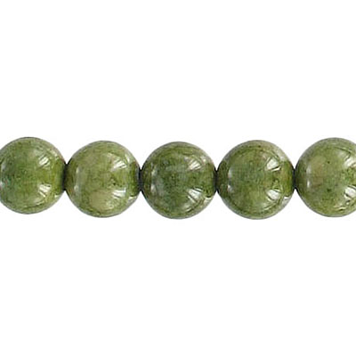 Fossil beads, 8mm, olive green, 36 inch strand
