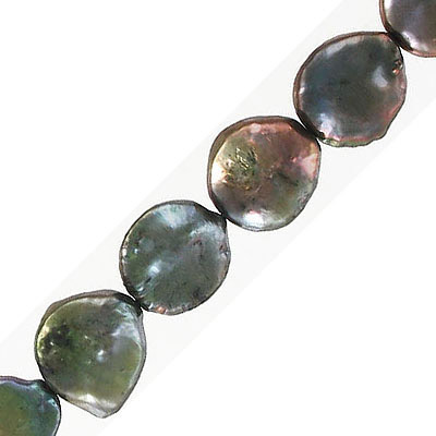 Fresh water pearls, 12-13mm, coin, dark green, 16 inch strand