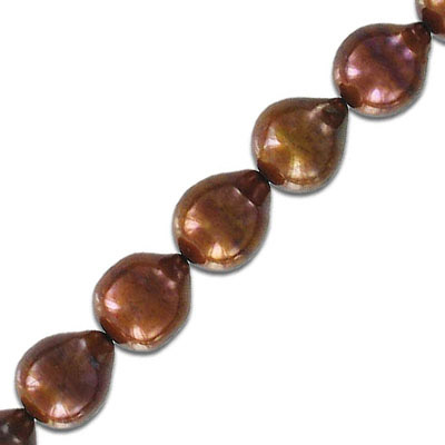 Fresh water pearls, 10-12mm, pear shape, brown, 16 inch strand