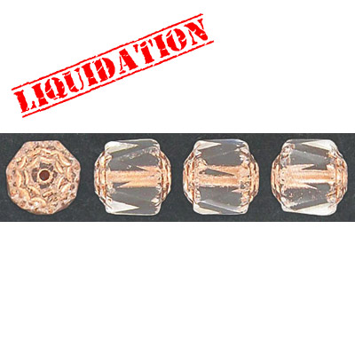 Glass bead, 8mm, window, fire polished, crystal copper