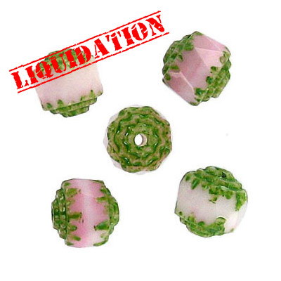 Glass bead, 8mm, window, fire polished, opaque light pink and light green