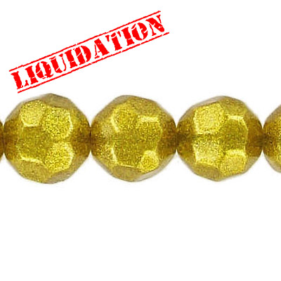 Glass bead, 10mm, 32 facets, 8 inch strand, dark gold