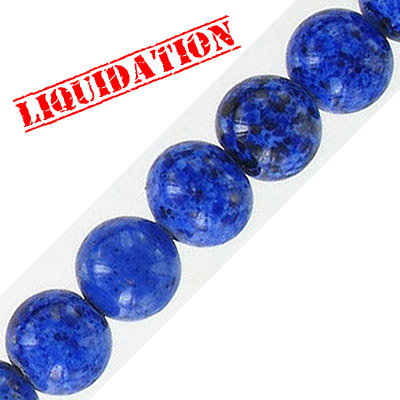Glass bead, 10mm, approx. hole size 1mm, vintage German glass, blue pattern, 16 inch strand
