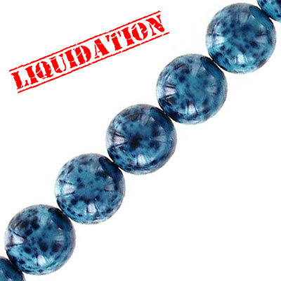 Glass beads, 10mm, round, turquoise stone imitation, 40 beads per strand, 16 inch strand