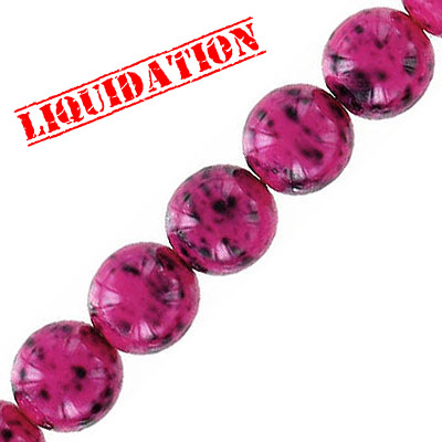 Glass beads, 10mm, round, pink stone imitation, 40 beads per strand, 16 inch strand
