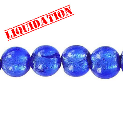 Glass bead silver foil, round, 10mm, 8 inch strand, blue