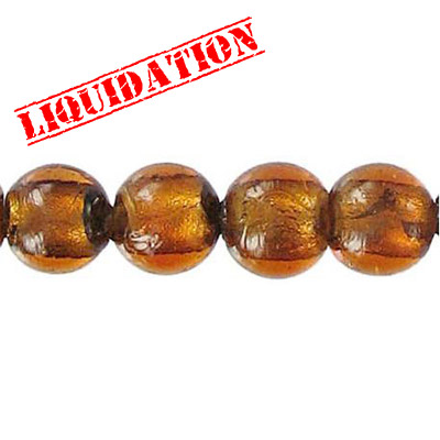 Glass bead silver foil, round, 10mm, 8 inch strand, brown