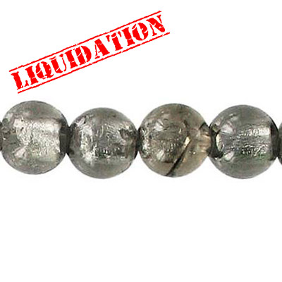 Glass bead silver foil, round, 10mm, 8 inch strand, grey, gray