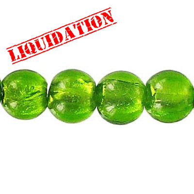 Glass bead silver foil, round, 10mm, 8 inch strand, olive green