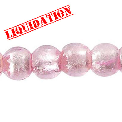 Glass bead silver foil, round, 10mm, 8 inch strand, rose pink