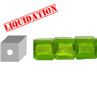 Glass bead silver foil, cube, 12mm, 8 inch strand, olive green