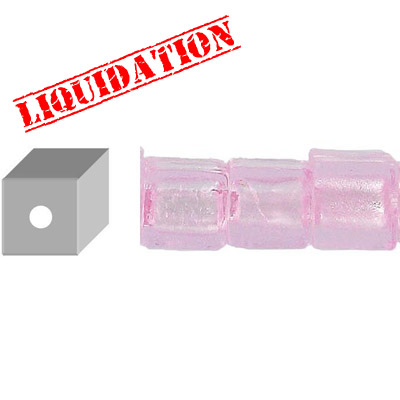 Glass bead silver foil, cube, 12mm, 8 inch strand, pink