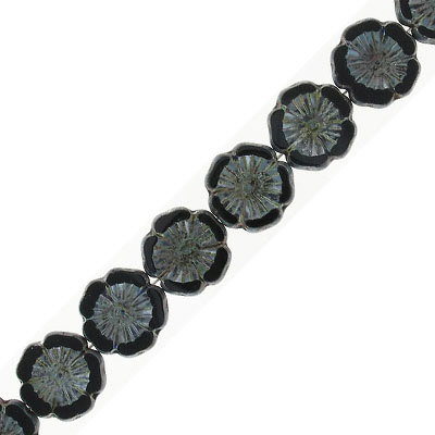 Preciosa, Czech, glass flower bead, 14mm, black with green, 8 inch strand