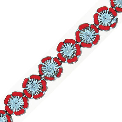 Preciosa, Czech, glass flower bead, 14mm, red with turquoise, 8 inch strand