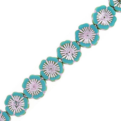 Preciosa, Czech, glass flower bead, 14mm, turquoise with green and pink, 8 inch strand