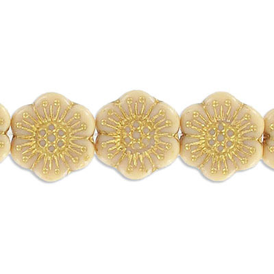 Preciosa glass bead, 18mm, flower, beige with gold, hole size approx. 0.75mm, 10 beads per strand