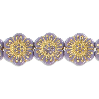 Preciosa glass bead, 18mm, flower, purple with gold, hole size approx. 0.75mm, 10 beads per strand