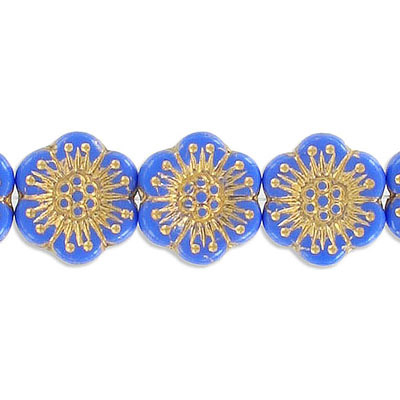 Preciosa glass bead, 18mm, flower, blue with gold, hole size approx. 0.75mm, 10 beads per strand