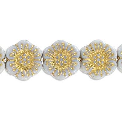Preciosa glass bead, 18mm, flower, grey with gold, hole size approx. 0.75mm, 10 beads per strand