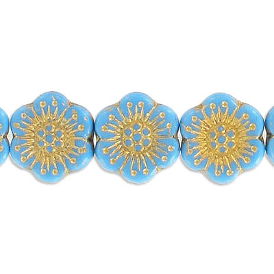 Preciosa glass bead, 18mm, flower, aqua with gold, hole size approx. 0.75mm, 10 beads per strand